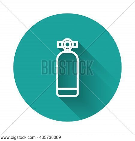 White Line Aqualung Icon Isolated With Long Shadow Background. Oxygen Tank For Diver. Diving Equipme