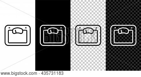 Set Line Bathroom Scales Icon Isolated On Black And White, Transparent Background. Weight Measure Eq