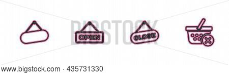 Set Line Signboard Hanging, Hanging Sign With Close, Open Door And Remove Shopping Basket Icon. Vect