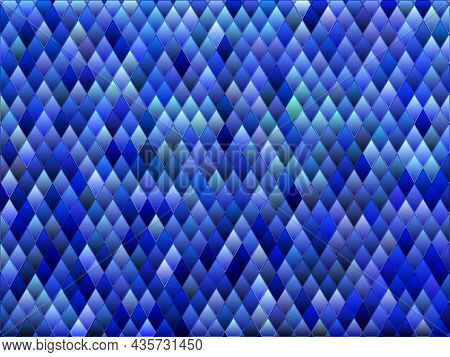 Abstract Vector Stained-glass Rhombus Mosaic Background - Blue