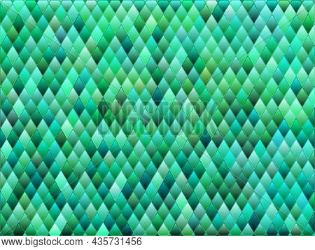 Abstract Vector Stained-glass Rhombus Mosaic Background - Teal