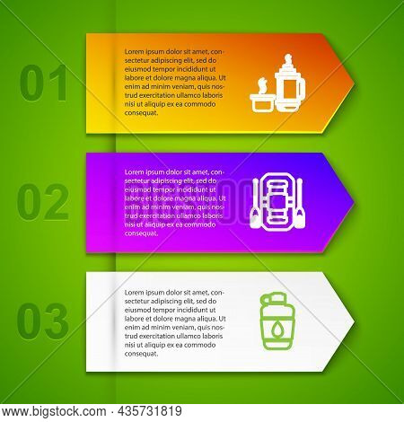 Set Line Thermos Container, Rafting Boat, Canteen Water Bottle And Tourist Tent. Business Infographi
