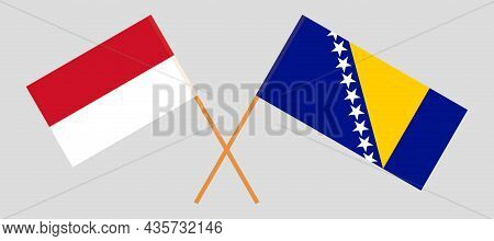 Crossed Flags Of Bosnia And Herzegovina And Indonesia