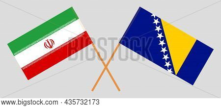 Crossed Flags Of Bosnia And Herzegovina And Iran