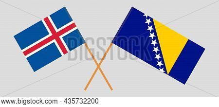 Crossed Flags Of Bosnia And Herzegovina And Iceland.