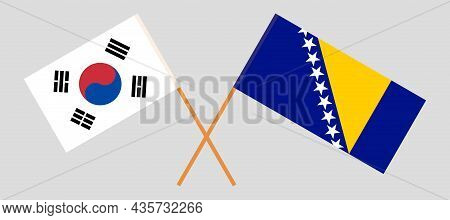 Crossed Flags Of South Korea And Bosnia And Herzegovina
