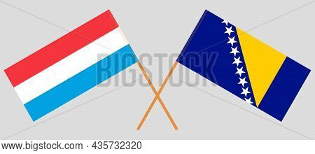 Crossed Flags Of Bosnia And Herzegovina And Luxembourg