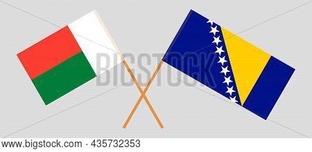 Crossed Flags Of Bosnia And Herzegovina And Madagascar
