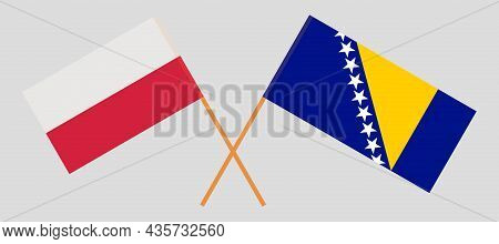 Crossed Flags Of Poland And Bosnia And Herzegovina