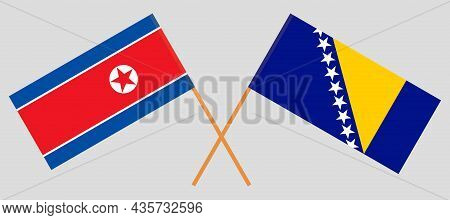 Crossed Flags Of Bosnia And Herzegovina And North Korea