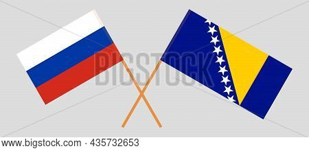 Crossed Flags Of Bosnia And Herzegovina And Russia