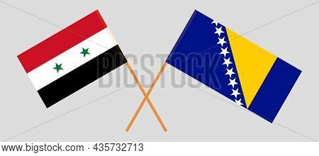 Crossed Flags Of Bosnia And Herzegovina And Syria