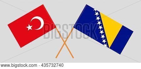 Crossed Flags Of Bosnia And Herzegovina And Turkey