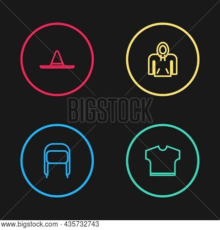 Set Line Winter Hat With Ear Flaps, T-shirt, Hoodie And Gardener Worker Icon. Vector