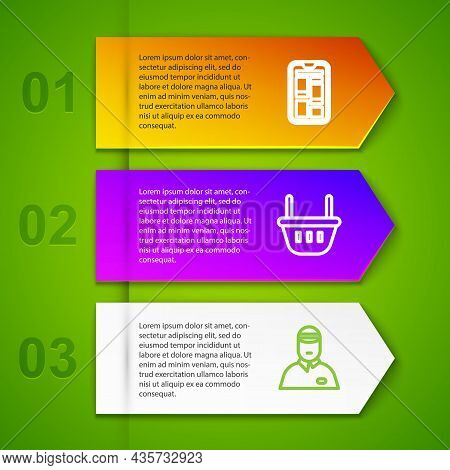 Set Line Online Shopping On Phone, Shopping Basket, Seller And Credit Card. Business Infographic Tem