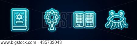 Set Line Jewish Torah Book, Rosary Beads Religion, The Commandments And Pastafarianism. Glowing Neon