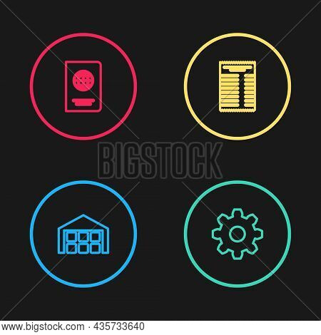 Set Line Warehouse, Cogwheel Gear Settings, Paper Or Financial Check And Passport Icon. Vector