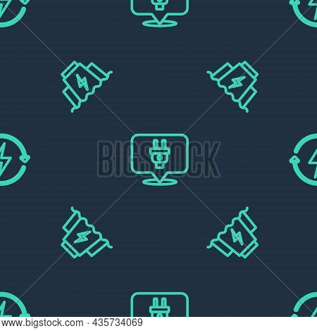 Set Line Electric Plug, Hydroelectric Dam And Recharging On Seamless Pattern. Vector
