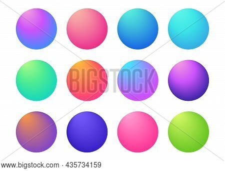 Circle Holographic Gradients Set, Sphere Buttons. Multicolor Green Purple Yellow Orange Pink Red Vio