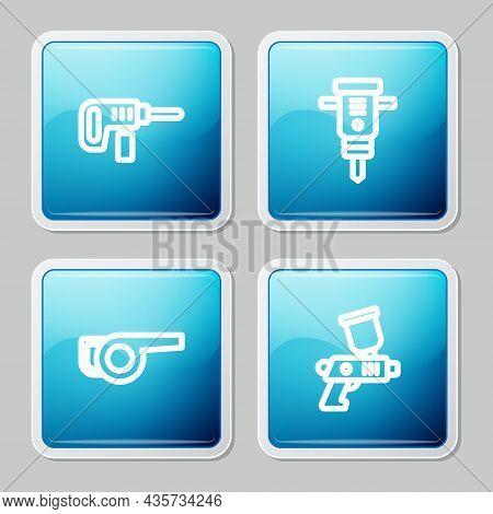 Set Line Electric Drill Machine, Construction Jackhammer, Leaf Garden Blower And Paint Spray Gun Ico