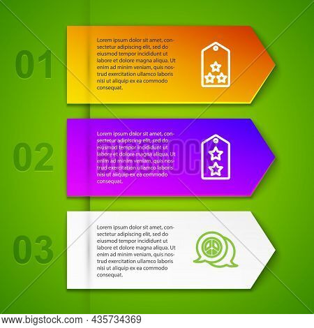 Set Line Military Rank, And Peace. Business Infographic Template. Vector