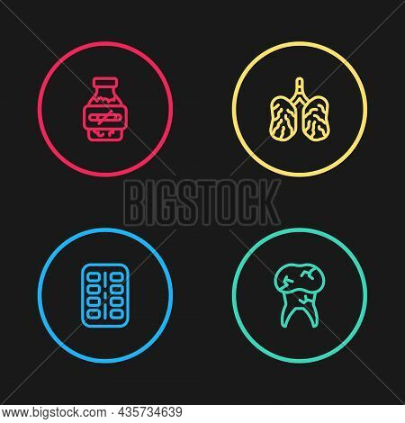 Set Line Nicotine Gum In Blister Pack, Tooth With Caries, Disease Lungs And Icon. Vector