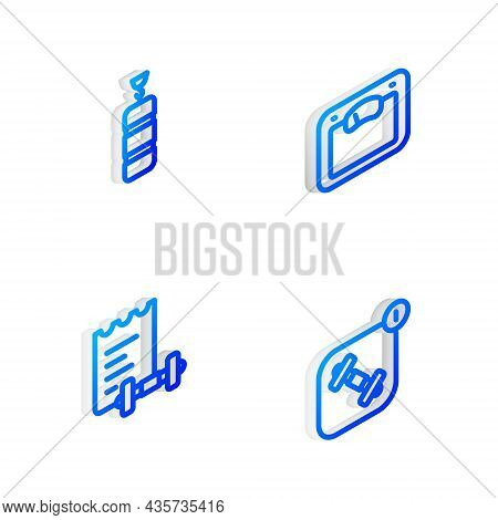 Set Isometric Line Bathroom Scales, Punching Bag, Sport Training Program And Fitness App Icon. Vecto