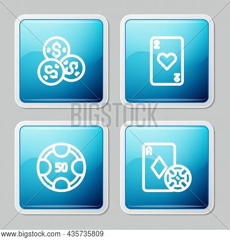 Set Line Casino Chip With Dollar, Playing Card Heart, Chips And And Playing Cards Icon. Vector