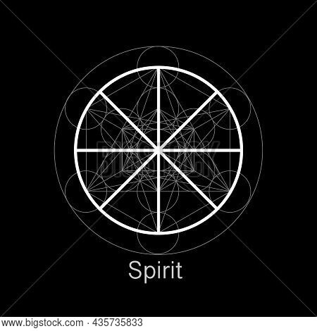 Spirit Symbol Wicca Alchemy Icon, Sacred Geometry, Magic Logo Design Of The Spiritual Sign. Vector M