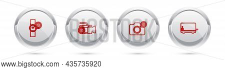 Set Line Wrist Watch Setting, Video Camera, Photo And Toaster. Silver Circle Button. Vector