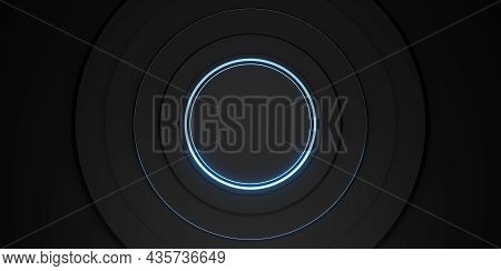 Ring Background Black Display Stand Laser Ring And Neon Light Glow 3d Illustration