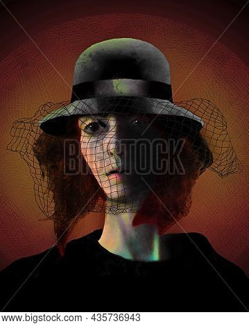 A Woman Wears A Bowler Veil Hat, A Vintage Style From The United Kingdom. This Is A 3-d Illustration