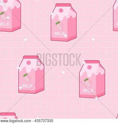 Strawberry Milk Pink Pastel With Shimmer Light Aesthetic Cute Design Seamless Pattern