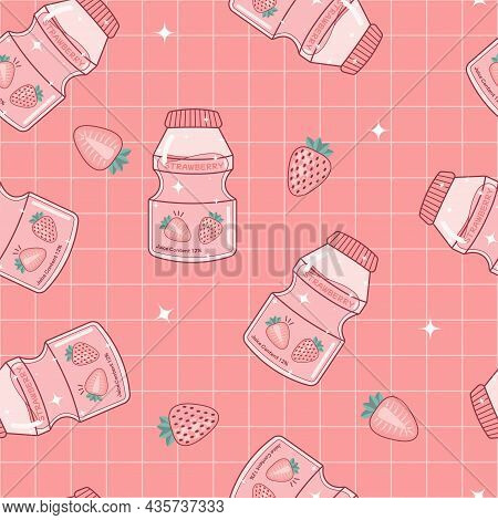 Probiotic Yogurt Strawberry Flavored Drink With Shimmer Light Aesthetic Art Design Seamless Pattern