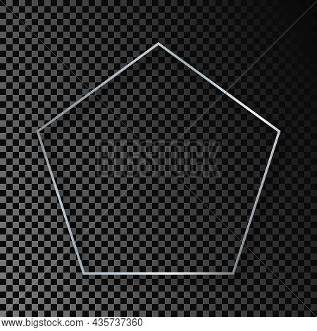 Silver Glowing Pentagon Shape Frame With Shadow Isolated On Dark Transparent Background. Shiny Frame