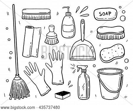 Doodle Set Of Items For Cleaning - Mop, Brushes, Detergents, Bucket, Scoop, Rubber Gloves, Soap, Spo