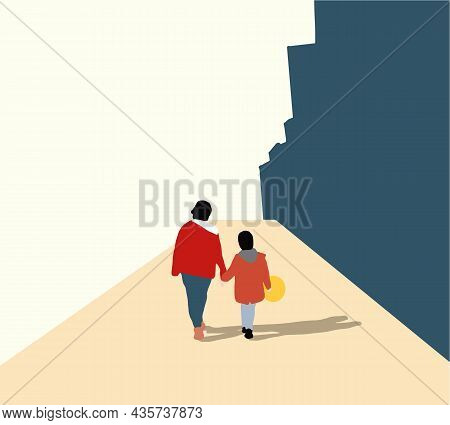 Girl Walking With Mother And Holding Yellow Balloon In Hand. Family Having Fun On Street. Happy Woma