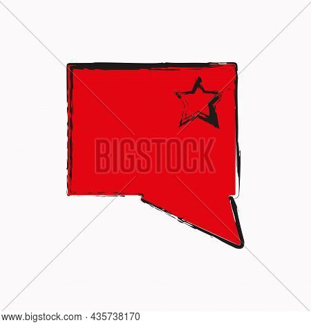 Red Message Sign With Star. Rectangle Speech Dialogue Icon. Communication Concept. Vector Illustrati