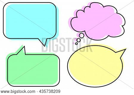 Colored Dialogue Icon Set. Shadow Effect. Message Sign. Freehand Art. Banner Design. Vector Illustra