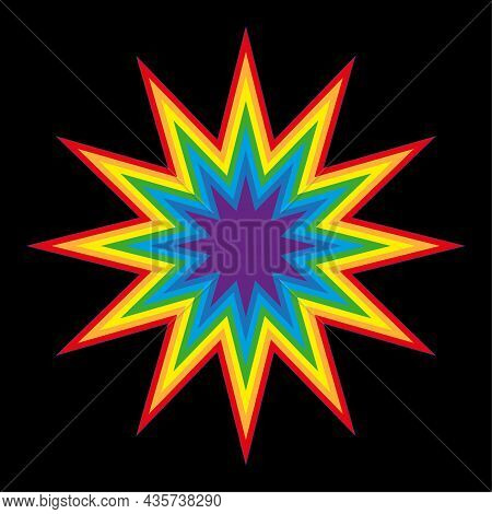 Colored Comic Boom Sign. Speech Element. Black Background. Communication Concept. Vector Illustratio
