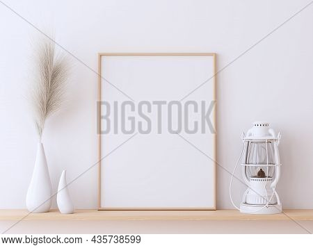 Minimalist Style Empty Photo Frame On Wooden Shelf 3d Render,decorated With Hay Flowers In A Vase An