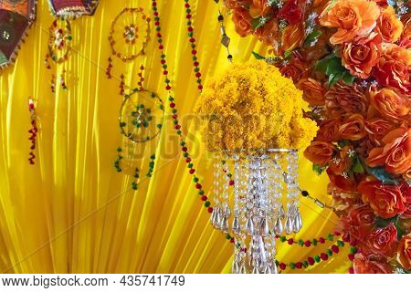 Marigold Garland And Decorations In Diwali Festival