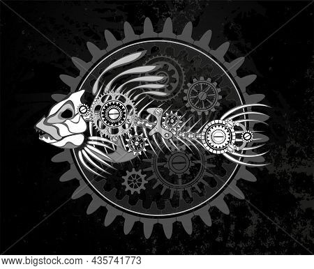 Contour, White, Mechanical Skeleton Of Fish With Mechanism Of Silhouette Gears On Dark Grunge Backgr