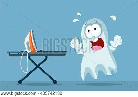 Scared Ghost Afraid Of An Ironing Machine Vector Cartoon