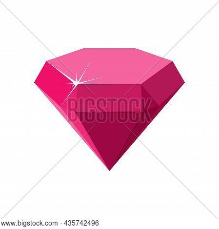 Hexagon Red Gemstone. Ruby Side View. Cartoon Vector Illustration