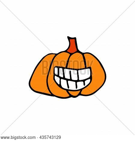 Doodle Halloween Scary Orange Pumpkin. Fun, Creepy, Laughing Face With Fangs. Happy Halloween Holida