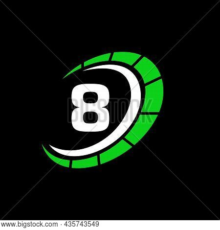 Sport Car Logo On Letter 8 Speed Concept. Car Automotive Template For Cars Service, Cars Repair With