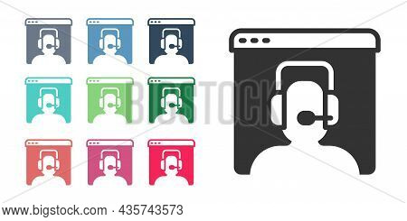 Black Telephone 24 Hours Support Icon Isolated On White Background. All-day Customer Support Call-ce