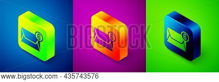 Isometric Mail And E-mail Icon Isolated On Blue, Purple And Green Background. Envelope Symbol E-mail