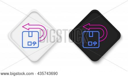 Line Return Cardboard Box Icon Isolated On White Background. Box, Package, Parcel Sign. Delivery And